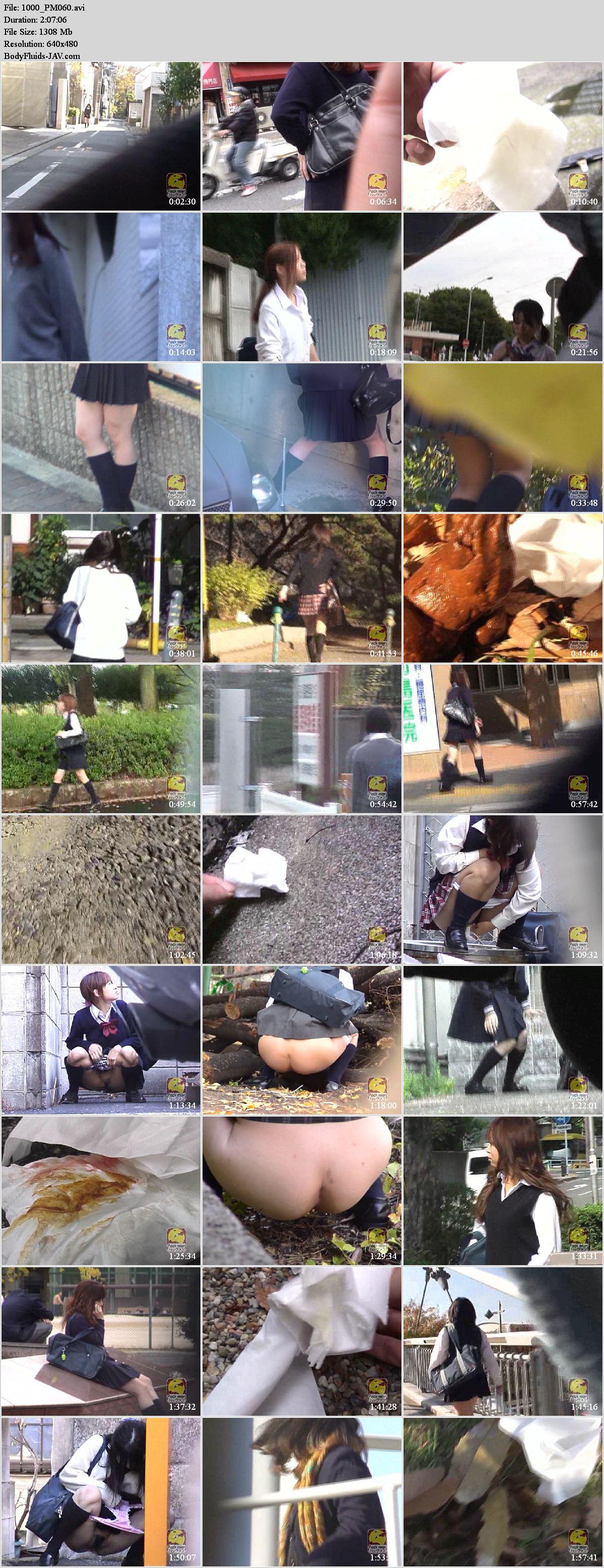 PM060 Schoolgirls outdoor pooping.