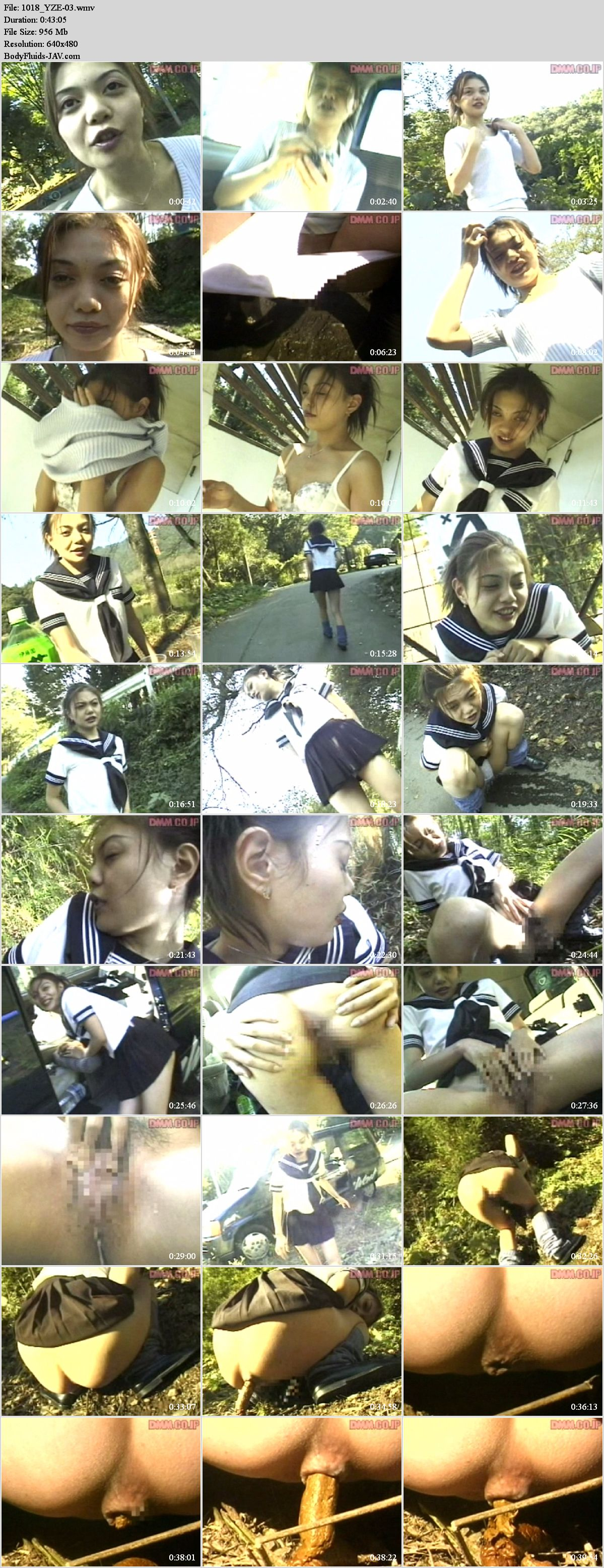 YZE-03 Schoolgirl Yoko peeing and pooping on outdoor.