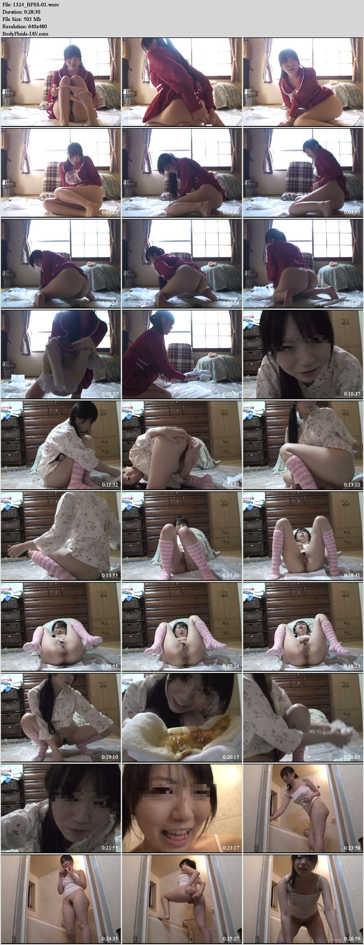 BFSS-01 Beautiful girl self filmed pooping after enema.