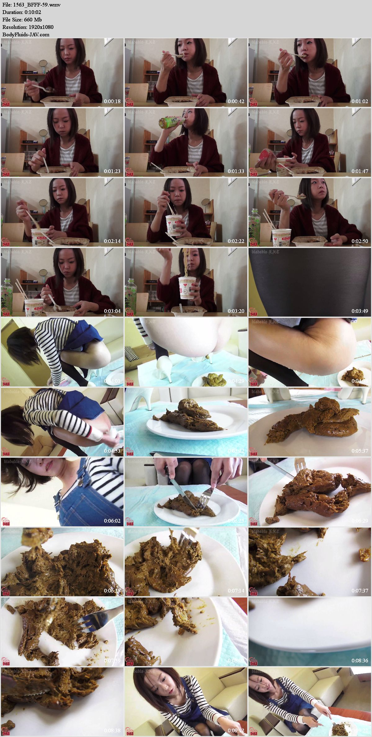 BFFF-59 Girl pooping in plate and explore faeces. (HD 1080p)