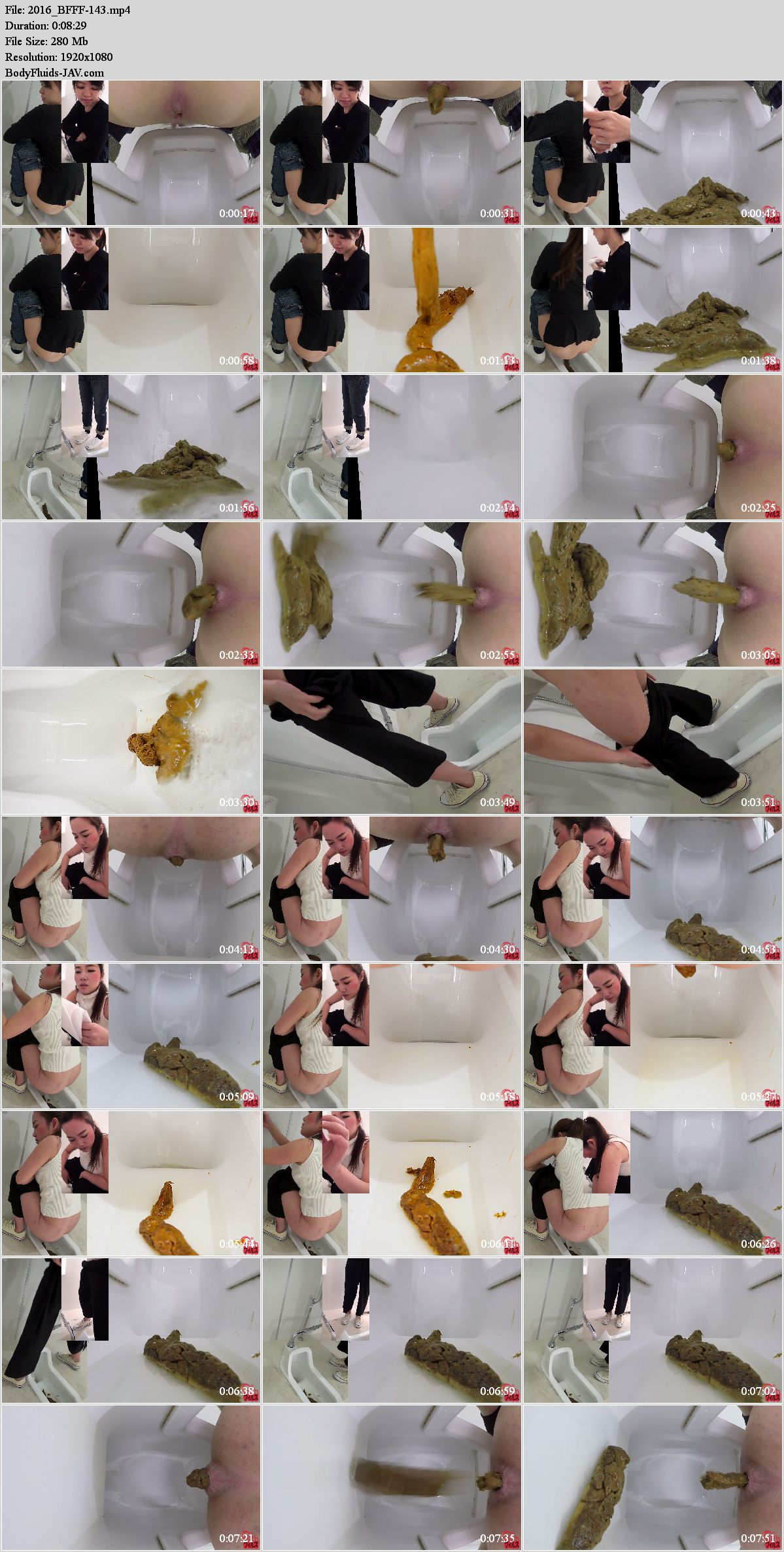 BFFF-143 Girls defecates big shit pile in public toilet close-up. (HD 1080p)