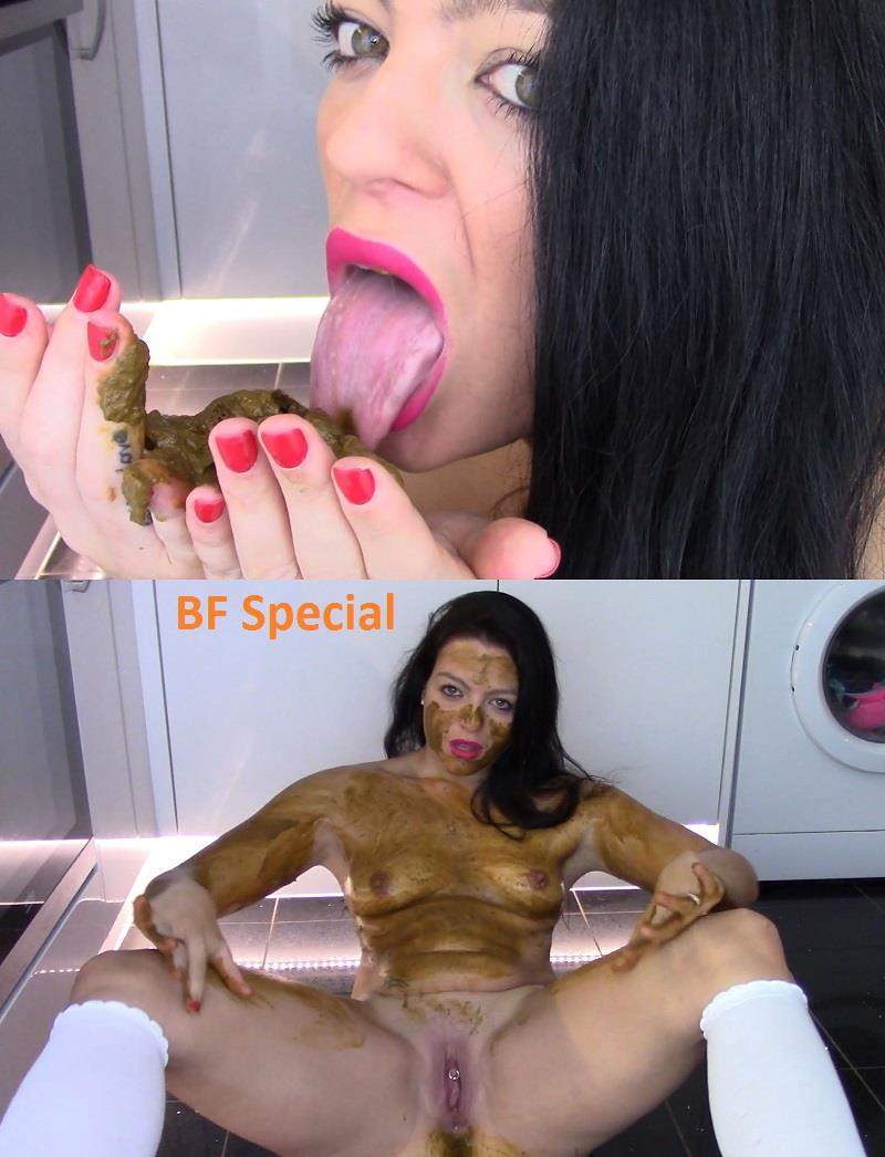 [Special #679] Evamarie88 smearing face and body feces and licking shit. (HD 1080p)