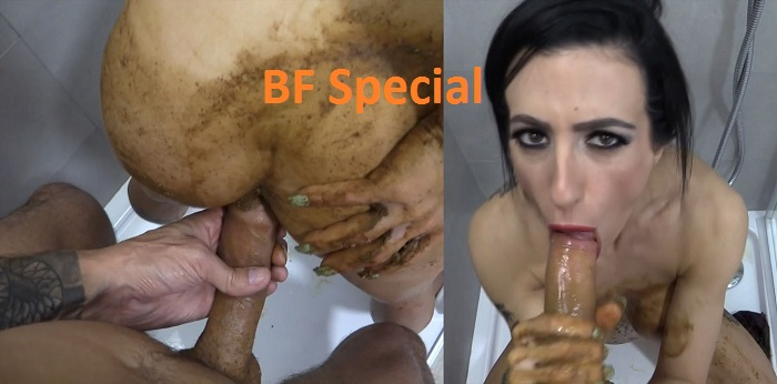 Taking a dump in her mouth and stuffing my cock in